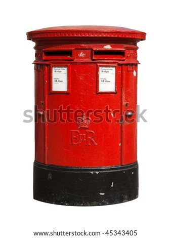 British red post box isolated on a white background