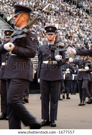 stock photo : British Royal Air Force Queen's Colour Squadron Drill Team on