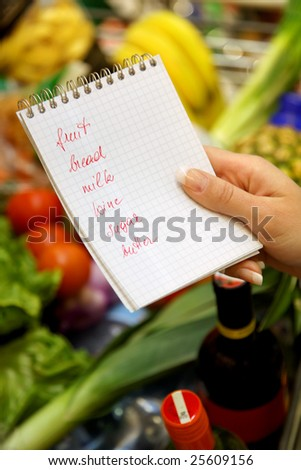 British shopping list in a supermarket with a shopping trolley