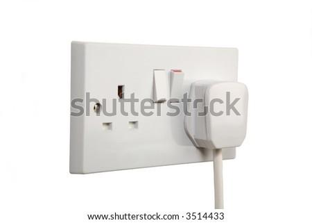 British socket and plug. Socket turned on. isolated on white