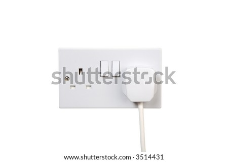 British socket and plug. Turned off. isolated on white