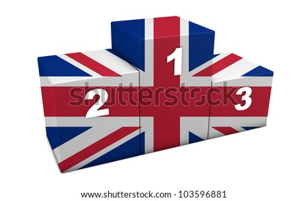 "British top positions 3d rendering. Podium for concept "" the best of Great Britain "". Isolated on white."