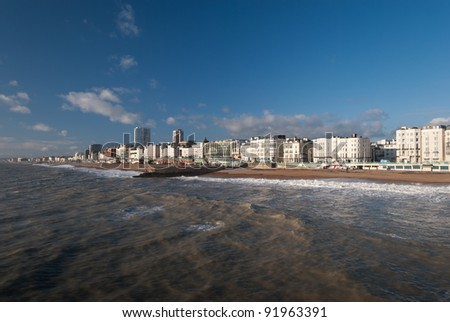 British town of Brighton seen from the pier .