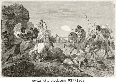 British traveller John Bell killed by Abyssinian warriors. Created by Bayard, published on Le Tour du Monde, Paris, 1867