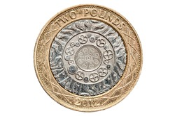 British Two Pound Coin Isolated on White