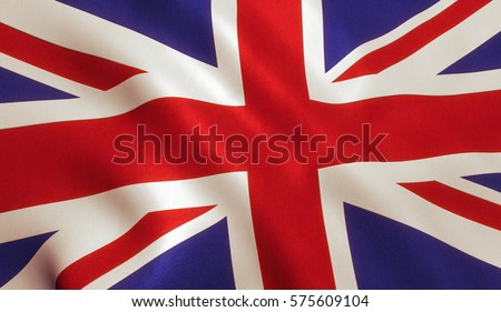 British UK flag background with cloth texture.