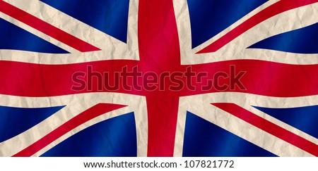 British Union Jack flag old crinkled effect. - stock photo