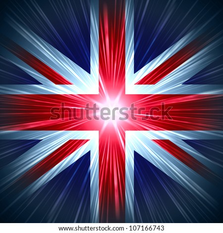 British Union Jack national flag with light rays