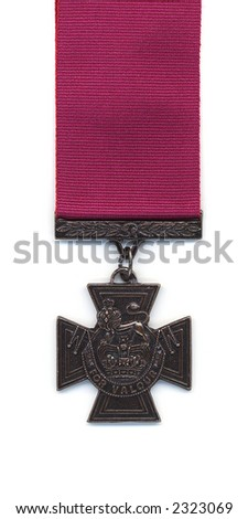 British Victoria Cross with a crimson ribbon. Medals issued to the Royal Navy prior to 1918 were suspended from a blue ribbon. With the creation of the RAF crimson ribbons became standard.