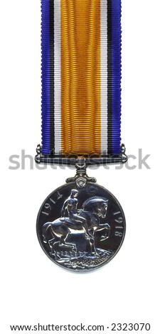 British 1914 - 18 War Medal on a pure silk ribbon. Members of the British and Commonwealth Armed Forces were awarded the medal in silver. - stock photo