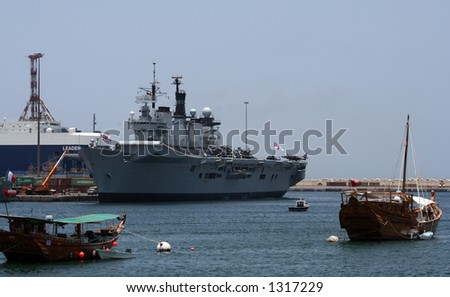 Britsh Navy aircraft carrier HMS Illustrious docked in Muscat in Oman.