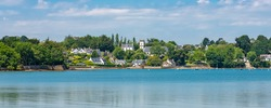 Brittany, Ile aux Moines island in the Morbihan gulf, the church and the Port-Miquel beach, beautiful light