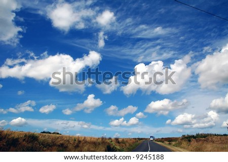 Brittany (Northern France) - Dramatic sky over a winding road