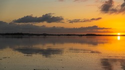 Brittany, panorama of the Morbihan gulf, view from the Ile aux Moines, at sunrise