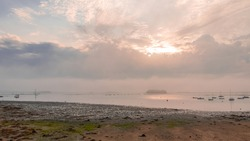 Brittany, panorama of the Morbihan gulf, view from the Ile aux Moines island, after the rain at dawn
