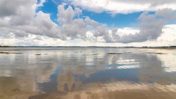 Brittany, panorama of the Morbihan gulf, view from the Ile aux Moines, with a beautiful sky