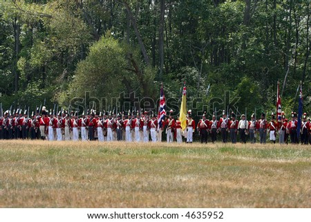 Brittish slodiers lining up for an attack at a War of 1812 battle re-enactment at Ft. Erie, Ontario, Canada