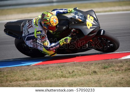 BRNO, CZECH REP, JULY-12: Valentino Rossi, who in early June in Italy Mugello GP suffered a fracture of the leg is testing at Masaryk Circuit on 12 July 2010, in Brno, Czech republic.