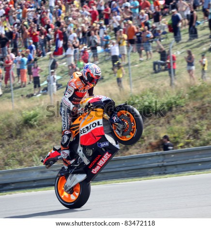 BRNO, CZECH REPUBLIC, AUGUST 14:Casey Stoner celebrate 1st place in the MotoGP race in world championship on 14 august, 2011, in Brno, Czech republic.