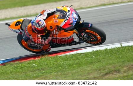 BRNO, CZECH REPUBLIC, AUGUST 14:Casey Stoner in the MotoGP race in world championship on 14 august, 2011, in Brno, Czech republic.