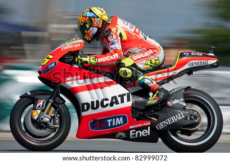 BRNO, CZECH REPUBLIC -  AUGUST 14: Ducati team Valentino Rossi main race of MotoGP in Grand Prix Brno Circuit Czech Republic on August 14, 2011 in Brno, Czech Republic