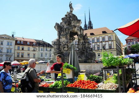BRNO, CZECH REPUBLIC - AUGUST 29, 2013: Locals buying vegetables at street food Market in Brno . Brno is the second largest city in the Czech Republic.
