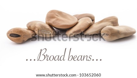 Broad beans (fava beans) on a white background, selective focus
