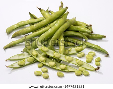 Broad beans isolated on white studio background