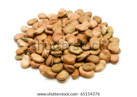 Broad beans on a white background