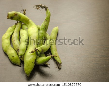broad beans seeds Vicia faba and  fresh picked raw broad beans in the pod on wooden table. Dark background.