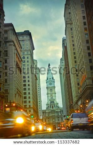 Broad street Philadelphia at night