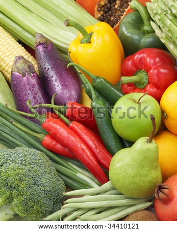 broad variety of fresh vegetables and fruits