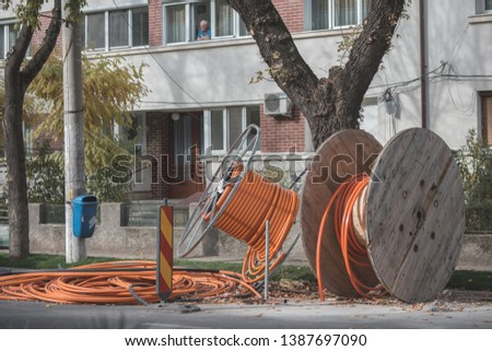 broadband fiber optic cable roll, coil, cable drum wire for communication, copper cables for big data high voltage industrial fibre technology engineering, network line for internet infrastructure #1387697090