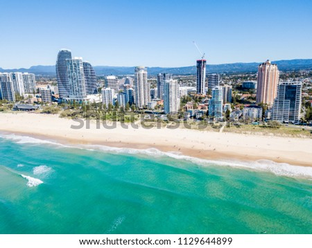Broadbeach on a perfect blue water day from an aerial view on the Gold Coast #1129644899