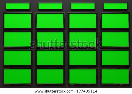 Broadcast Studio Interior with Green Screen - High Tech Videowall Presentation Concept