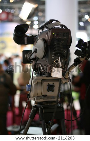 broadcast television camera on stage