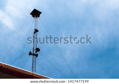 broadcasting and loudspeaker tower megaphone for announcing in community