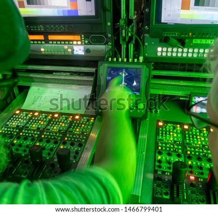 Broadcasting equipment in outside broadcasting studio.