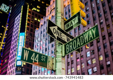 Broadway and 44st Street Signs, Manhattan, New York City at night