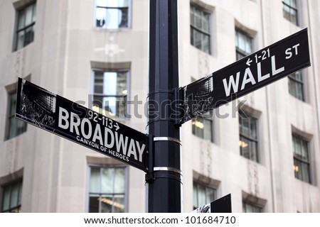 Broadway and Wall Street Signs, Manhattan, New York - stock photo