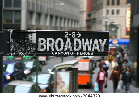 Broadway, road sign, Manhattan