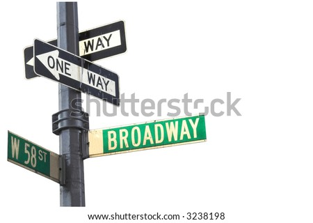 Broadway sign in Manhattan New York isolated against white #3238198