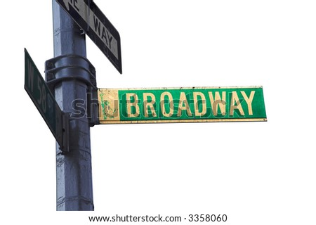 Broadway sign in New York isolated with clipping path