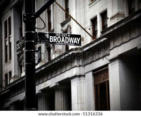 Broadway sign on Canyon of Heroes in new York in high contrast color - stock photo