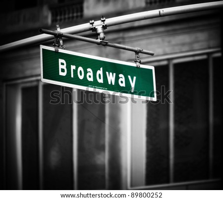 Broadway sign with added vignette in Times Square New York - stock photo