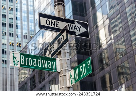 Broadway street sign near Time square in New York City #243351724