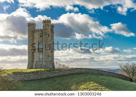 Broadway Tower, an eighteenth century folly built on Broadway hill above the village of Broadway, Worcestershire UK. Second highest point in the Cotswolds AONB and near the Cotswolds Way