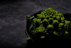 Broccoflower on dark background. Wellington New Zealand