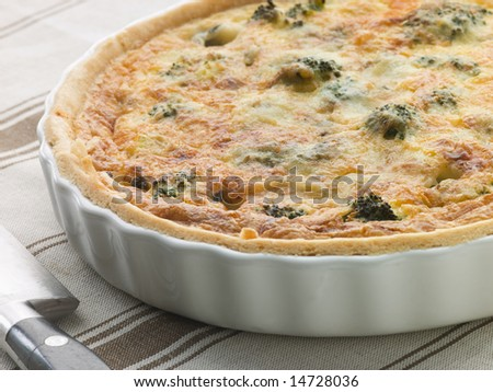 Broccoli and Roquefort Quiche in a Flan Dish