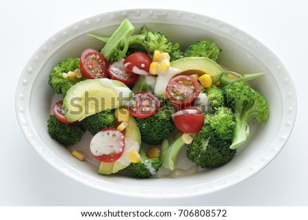 broccoli and tomato salad with  salad dressing #706808572